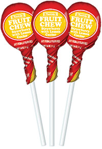 Image of Strawberry with Lemon Center Fruit Chew Pops (50 ct. Bag) Package