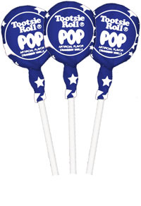 Image of Blue Raspberry with Stars Wrapper Tootsie Pops (50 ct. Bag) Package