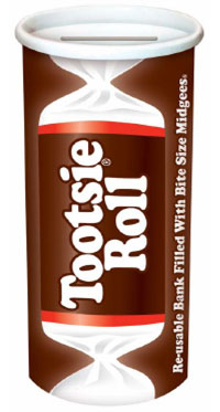 Image of Tootsie Roll Bank Filled with Midgees Package