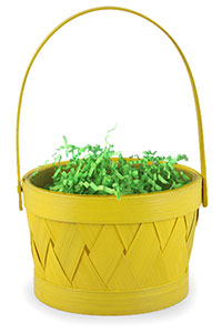 Yellow Easter Basket With Grass Filling