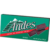 Image of Andes Crème de Menthe Thins (4.67 oz./28 ct. Box) Packaging