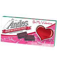 Image of Andes Crème de Menthe Thins with Valentine Sleeve (4.67 oz./28 ct. Box) Packaging