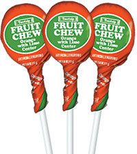 Image of Orange with Lime Center Fruit Chew Pops (50 ct. Bag) Packaging