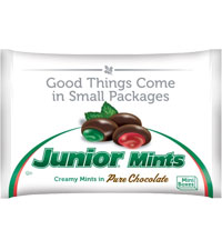 Image of Christmas Junior Mints 10 oz. Snack Bag Packaging
