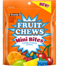 Image of Tootsie Fruit Chew Mini Bites 9 oz. Resealable Pouch Packaging